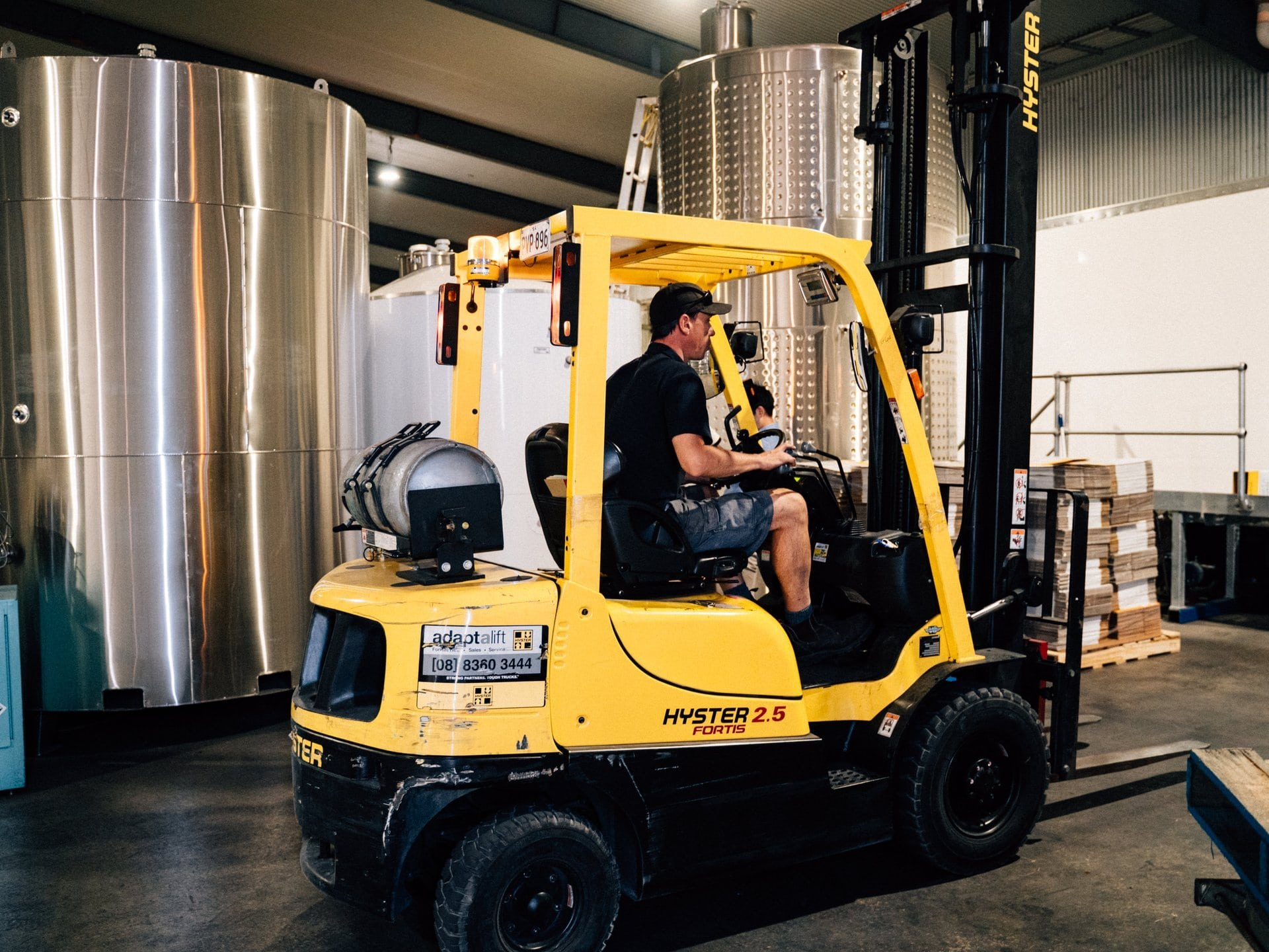 Forklift & Driver in winery