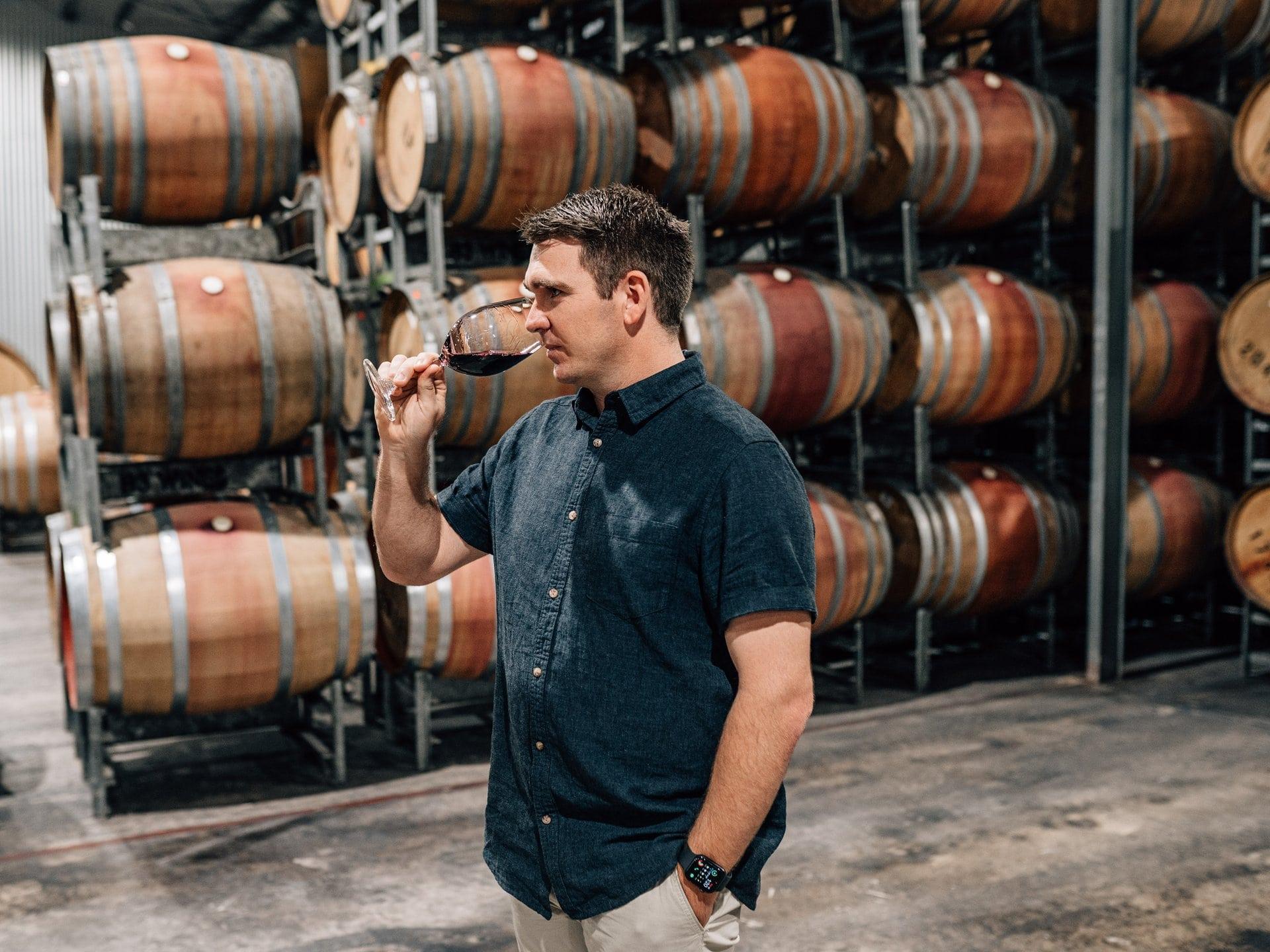 Trent Burge tasting wine
